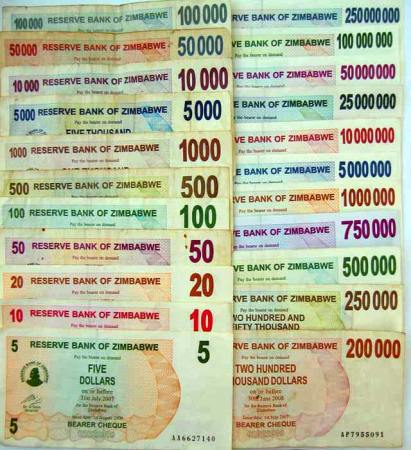 An assortment of RBZ issued bearer's cheques. Image credit sokwanele.com