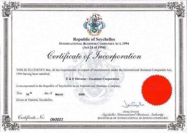 Certificate of incorporation. Image credit elevator-escalator.com