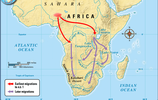 A map showing the movement of the Bantu from the North. Image credit sites.google.com