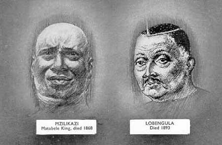 Drawings of Mzilikazi and Lobengula. Image credit africanfederation.net