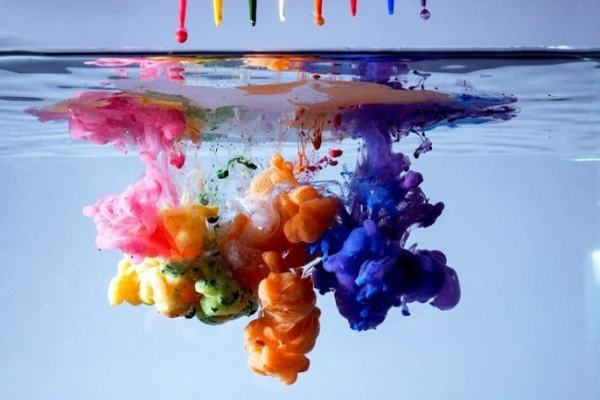 Coloured ink droplets falling and diffusing in a glass of water. Image credit pinterest.com