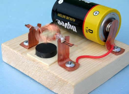 Demonstrating the motor effect. Image credit ideas-inspire.com