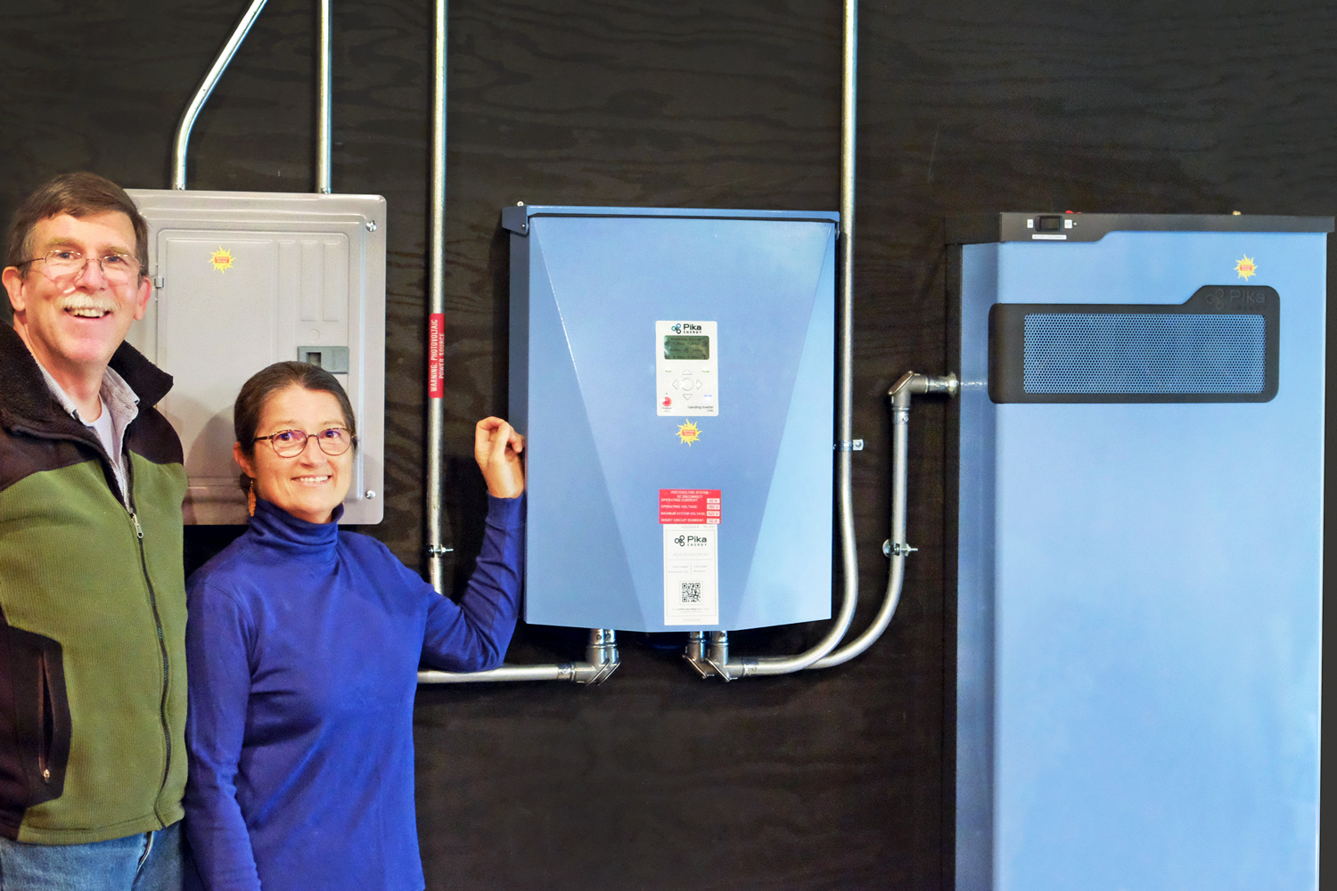 hight resolution of two homeowners stand by their home battery backup power source a maine made battery