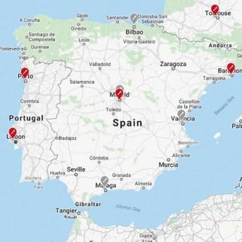 En el mapa, en rojo, servicios postvebta ya existentes. En gris, próximos servicios.