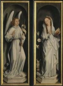 Grisallas,  Hans Memling. La Anunciación. Brujas, Groeningemuseum
