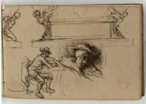 Fortuny, Marià. Pedestal d'estil renaixentista i figures masculines