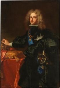 4.Felipe V, rey de España. Hyacinthe Rigaud. Óleo sobre lienzo, 130 x91 cm. 1701. Madrid, Museo Nacional del Prado