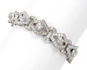 5 Suttons & Robertsons Pulsera de platino, con diamantes talla brillante y suiza