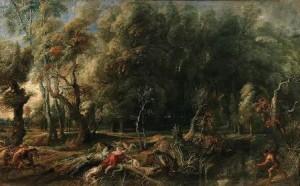 Atalanta y Meleagro cazando el jabalí de Caledonia.Pedro Pablo Rubens. Óleo sobre lienzo, 162 x 264 cm.h 1635 – 1636. Madrid, Museo Nacional del Prado