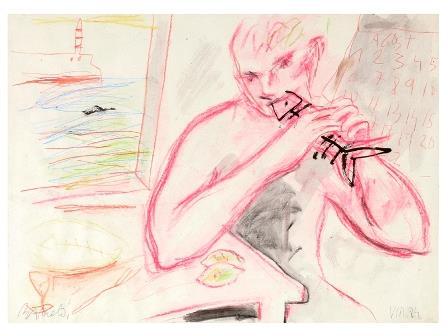 Lote 648: MIQUEL BARCELÓ Felanitx, Mallorca, 1957 HOMBRE COMIENDO PESCADO Técnica mixta sobre papel de 35 x 50 cm. Firmado y fechado en VIII de1984. Precio de salida: 14.000 euro
