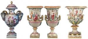 Ejemplos de diferentes piezas de Ginori de concepción historicista de finales del siglo XIX  (su precio ronda los 200 – 260 euros).