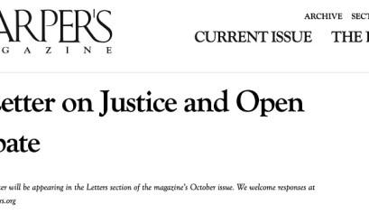Carta sobre la justicia y el debate abierto en Harper´s Magazine
