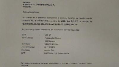 Copia de una de las transferencias hechas desde cuenta de MIDES en Banco Continental a un banco suizo.