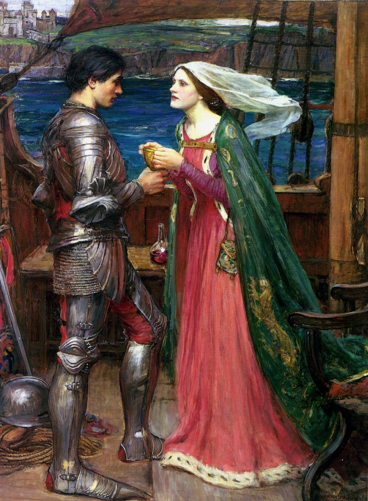 """Tristão e Isolda com a poção"" de John William Waterhouse"