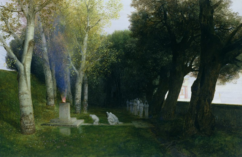 Bosque sagrado. Arnold Böcklin, 1886.