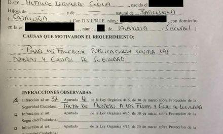"""Denuncia contra un hombre por """"falta de respeto a las fuerzasy cuerpos de seguridad del Estado"""" en Redes Sociales."""