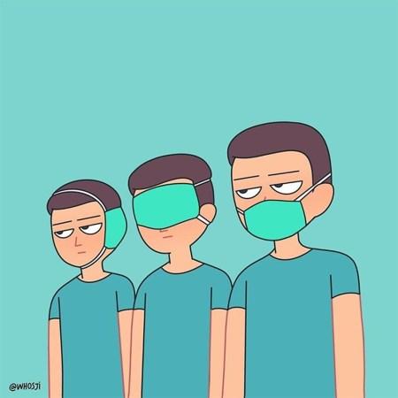 Tres personas con ropa de sanitario tapan (respectivamente) sus oídos, sus ojos y su boca con mascarillas.