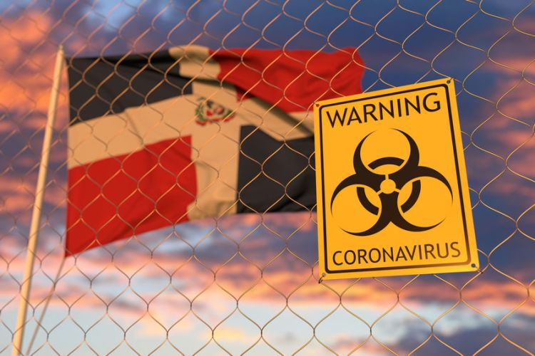 Biohazard restriction sign against the flag. Restricted entry or quarantine. Conceptual 3D