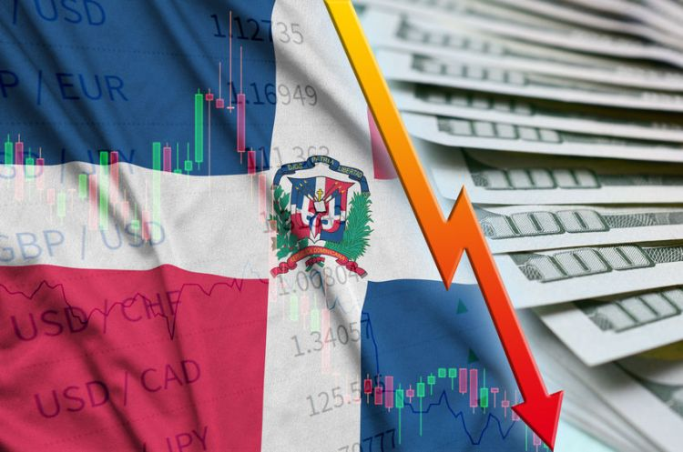 Dominican Republic flag and chart falling US dollar position with a fan of dollar bills. Concept of depreciation value of US dollar currency