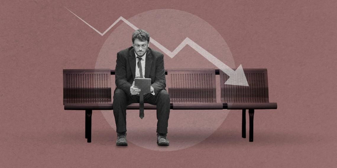 Businessman under pressure due to the coronavirus economic impact on business background