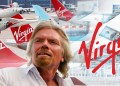 Richard Branson sostiene avión de juguete Virgin, fondo de aerolínea Virgin, logo y dinero