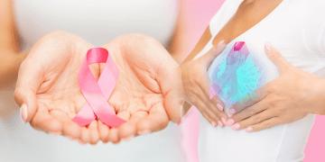 manos sosteniendo lazo rosa; mujer se palpa el seno, mamografía 3D