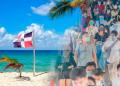 playa dominicana con bandera de RD; turistas, turismo