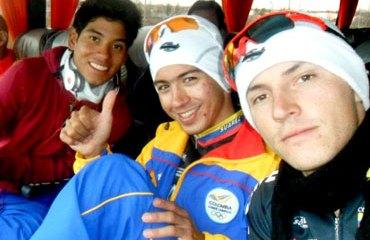 Juanes, Weimar Roldan y Edwin Ávila se encuentran muy a gusto con el nuevo Velódromo