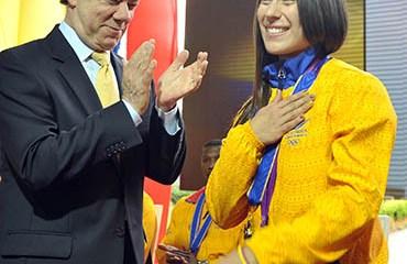 Mariana Pajón junto al Presidente Santos