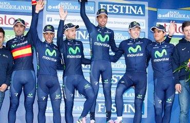 Movistar Team culmina su gran Tirreno-Adriático con el triunfo por equipos