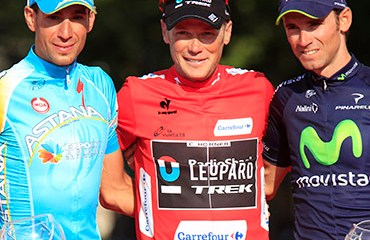 Horner y su podio de la Vuelta a España 2013 junto a Valverde y Nibali
