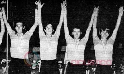 Cochise Rodríguez, Luis H. Díaz, Jorge Hernández y José Ramón Garcés, se bañaron de oro en los Panamericanos de 1971. Foto Cortesía: El ciclismo colombiano en el Mundo (Próximo a aparecer)