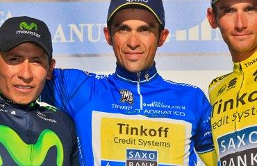 Podio de la Tirreno Adriático 2014: Contador, Quintana y Kreuziger