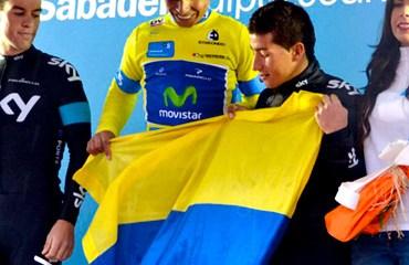 Podio de la Vuelta al País Vasco 2013 con Quintana, Porte y Henao