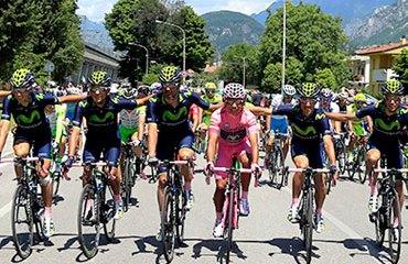 El Movistar Team arropó de buena forma a su líder Quintana durante todo el Giro