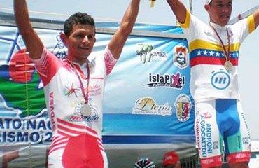 El podio venezolano compuesto por: Carlos Galviz, José Rujano y Tomás Gil