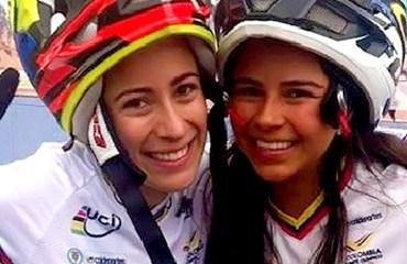 Las dos mujeres de la delegación nacional, Mariana Pajón y Estefany Gómez.
