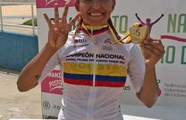 Tatiana Dueñas terminó las justas nacionales juveniles con cuatro medallas de oro, una en la ruta y tres en la pista