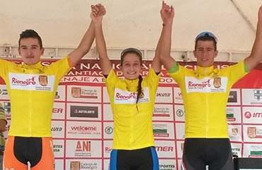 El Podio de lideres de la segunda etapa de la Clásica de Rionegro