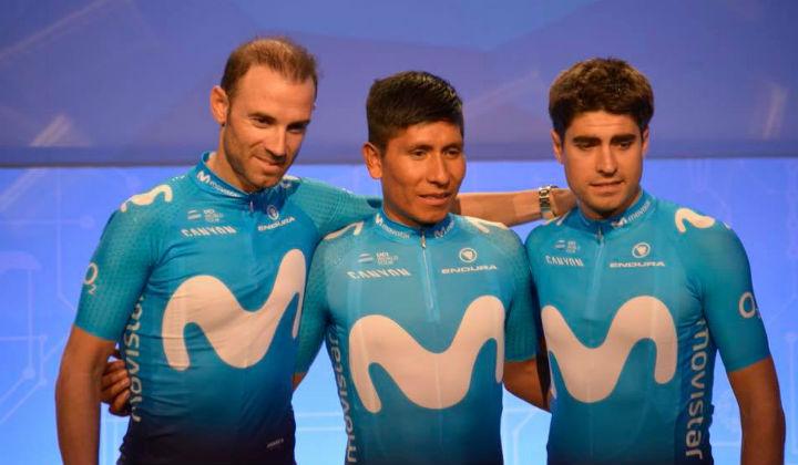 Alejandro Valverde, Nairo-Quintana y Mikel Landa durante la presentación del Movistar en Madrid. (Fotos-Movistar)