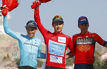Miguel Ángel López, en el podio de los consagrados del Tour de Omán