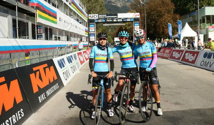 Ana Cristina Sanabria, Paula Patiño y Blanca Moreno en prueba élite este sábado en Innsbruck -Foto FCC-