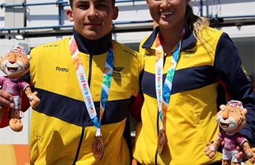Gabriela Bolle y Juan C. Ramírez lograron la medalla de bronce en el BMX de los Juegos Olímpicos de la Juventud 2018 (Foto©COC)