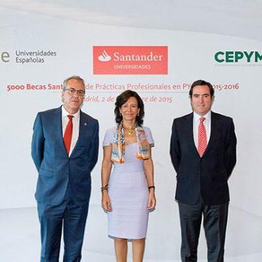 santander dará becas a 5.000 universitarios para que realicen prácticas en pymes en 2016 con el apoyo de crue y cepyme