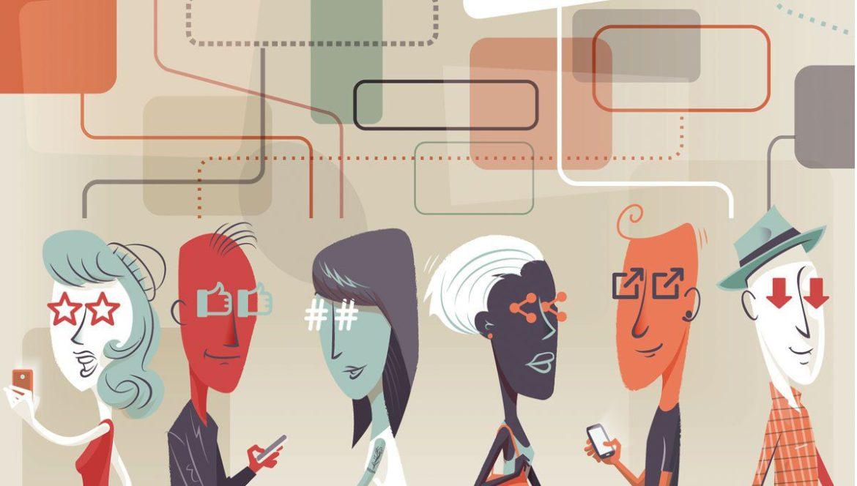 ilustracion redes sociales comportamiento humano