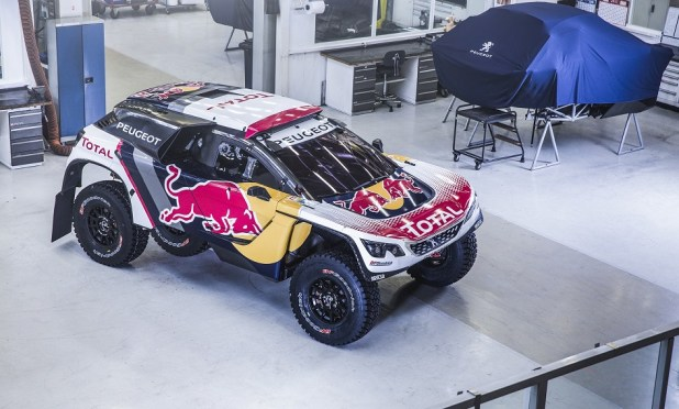 The  new racing colors of the Peugeot 3008 DKR  in Velizy-Villacoublay, France on November 20, 2016