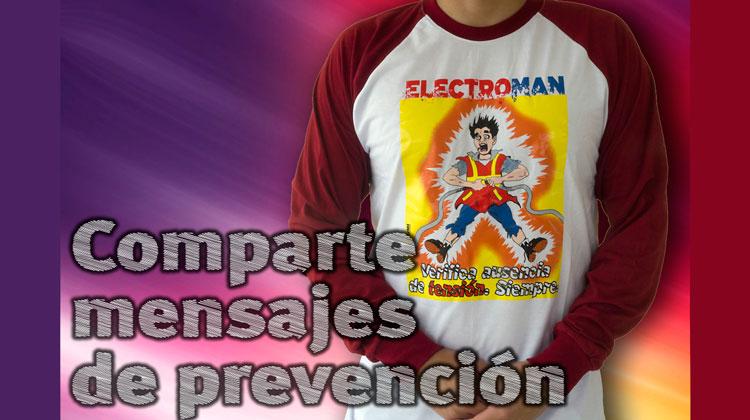 «Electroman no se salva»: camisetas sobre riesgos eléctricos