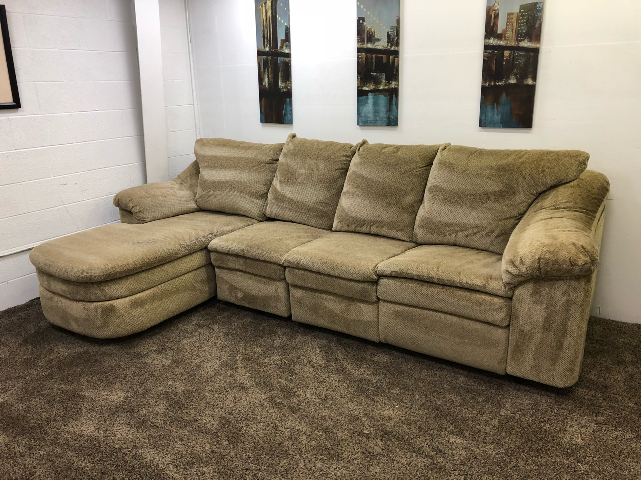 chenille sectional sofas with chaise custom los angeles light brown tan reclining sofa