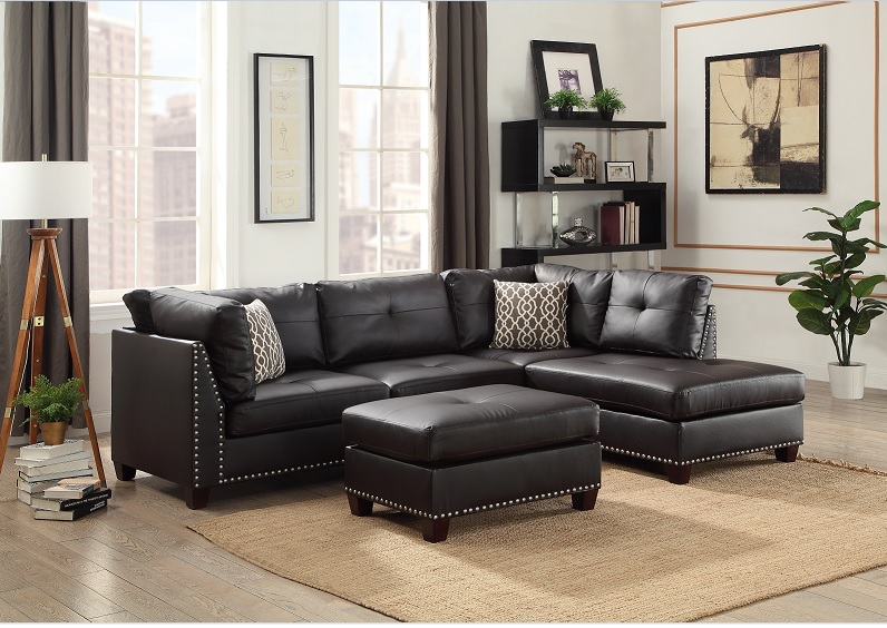 light black vinyl studded sectional sofa w right chaise lounge and ottoman