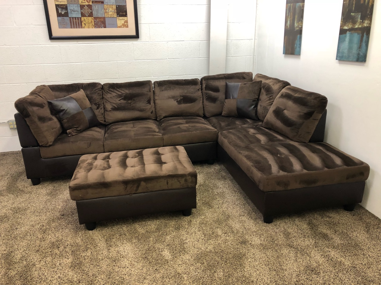 3 piece microfiber sectional sofa with chaise vine vinyl 1241 brown plush set